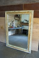 Painted and gilded pine frame dressing mirror