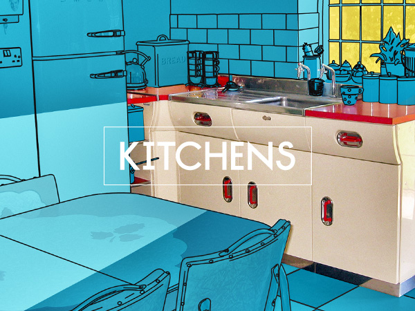 Retro English Rose and Paul Metalcraft kitchens